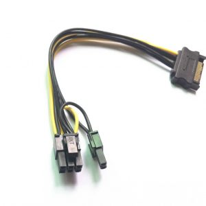 SATA naar 6-Pin-8-Pin 6+2 PCI-e voedingskabel 20cm